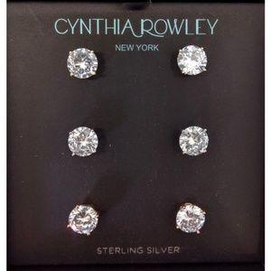 NEW CYNTHIA ROWLEY 3 Pr Sterling Silver Earrings